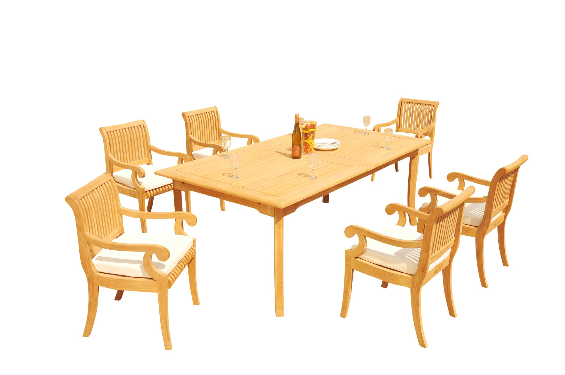 A Grade Teak 7pc Dining 118 Quot Rectangle Table 6 Giva Arm
