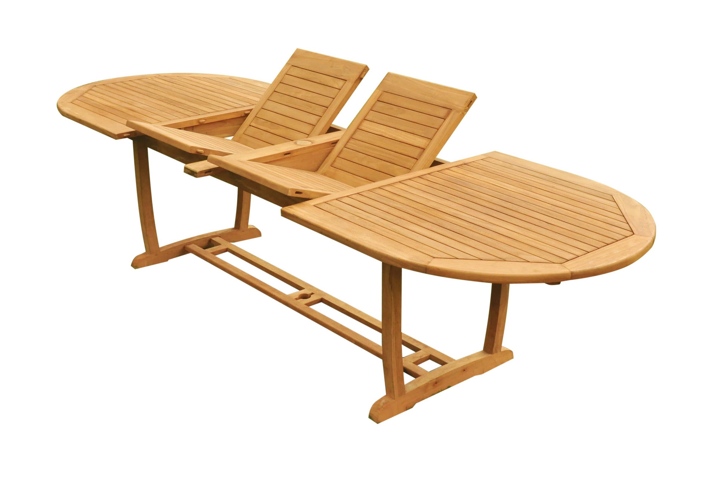 """Grade-A Teak Wood Mas 117/"""" Double Extension Rectangle Dining Table Outdoor Patio"""